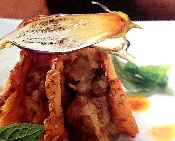 Ensalada de berenjena con yogur y curry